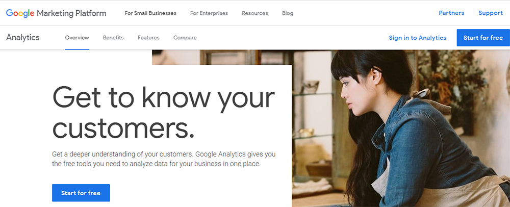 Screenshot of Google Analytics Sign Up Page