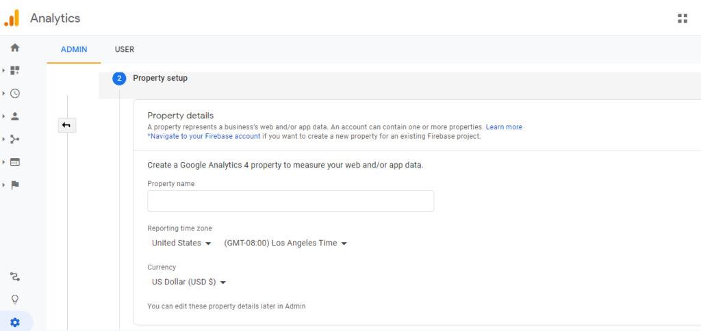 Screenshot of Google Analytics property set up page