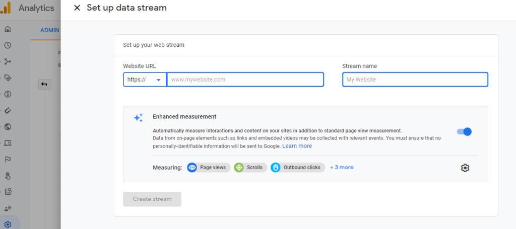 Screenshot of how to set up data stream in Google Analytics