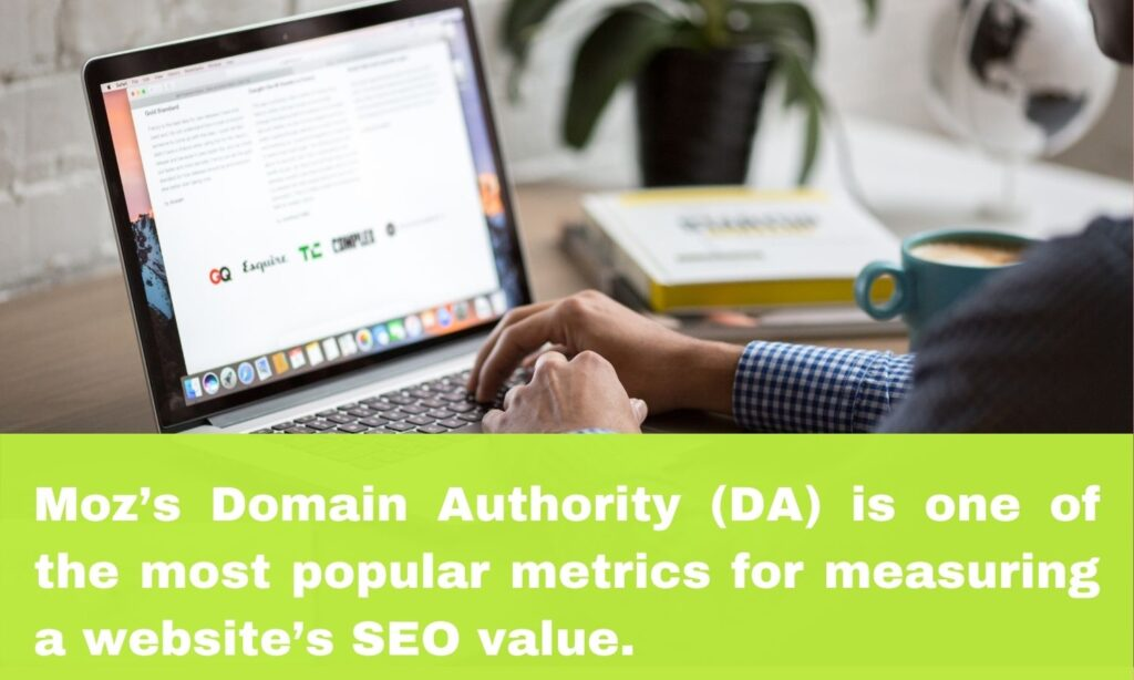 Graphic about Moz domain authority with laptop in the background